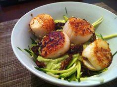 "Pan Seared Scallops over Creamy #Avocado ""Pasta"" via ADashofMeg.com // #zucchininoodles #seafoodmonth"