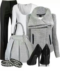 Love the style of the jacket and purse. Too gray for me, but great design