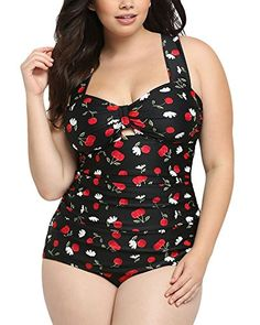2e8de8ed08baf Lalagen Women s Retro Vintage Hollow Out Two Piece Swimwear Set Plus Size  Swimsuit Women s Swimsuits