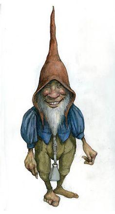 Gnome - Pencil, coloured pencil, watercolour
