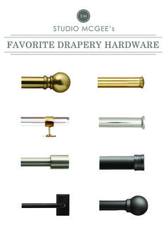 Ask Studio McGee: Our Favorite Drapery Hardware. Beautiful way to really dress up. Add jewelry to your lovely accent drapes. Curtain Hardware, Window Hardware, Home Hardware, Studio Mcgee, Drapery Rods, Curtain Rods, Modern Window Coverings, Modern Windows, Shades Blinds