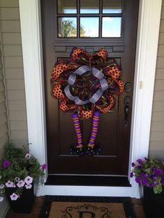 Halloween Deco Mesh Wreath Witch Legs