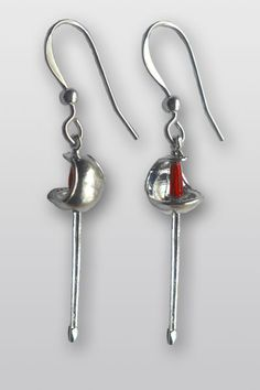 Sabre earrings w/ red handles -- fencing as fashion accessory