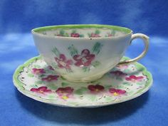 Vintage Ceramic Pansy Teacup Set
