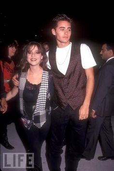 Solei Moon Frye & Jared Leto, 1991 I scrolled past this and then had to scroll back cuz jared looks awesome here!!!