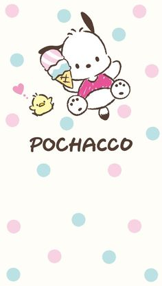 "dotty ""Pochacco & lovely colorful cone"", as courtesy of Sanrio Sanrio Wallpaper, Disney Phone Wallpaper, Kawaii Wallpaper, Cartoon Wallpaper, Iphone Wallpaper, Hello Kitty Characters, Sanrio Characters, Cute Characters, Pochacco Sanrio"