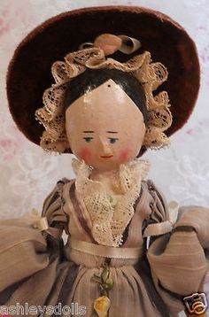 "9 3/4"" Antique Peg Wooden Doll, Pretty Costume & Hat!"