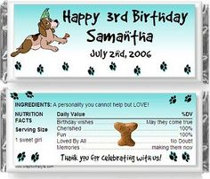 Dog birthday party theme favors candy bar wrappers on eBay!