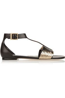 Jimmy Choo Ladle two-tone leather sandals | NET-A-PORTER