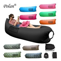 Camping accessories :Polan' Inflatable Sleeping Bag Portable Beach Lazy Bag Air at camping gear