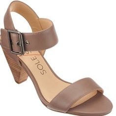 """Sole Society """"Missy"""" Strap Sandal Brand- Sole Society. Brand new. Never worn. Color- Taupe. A quarter-strap design and woodgrain cone heel take center stage on a groovy summer sandal with plenty of '70s attitude. 3 1/2"""" heel (size 8.5). Adjustable strap with buckle closure. Leather upper/synthetic lining and sole. Sole Society Shoes Sandals"""