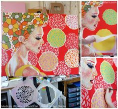 Painted Artwork by Amylee using Royal Design Studio Stencils via Paint + Pattern