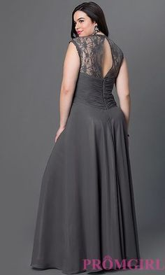 Image of sliver plus-size long prom dress with ruching. Style: FB-GL1376Ppc Back Image