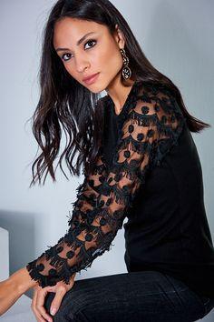 Kadın Siyah Kol Detaylı Bluz Cool & Sexy | Trendyol