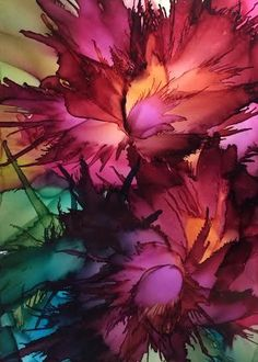 "Wild Flowers Alcohol Ink on Yupo paper (5x7"")"