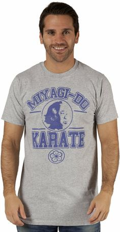 This Karate Kid shirt features the a logo for Miyagi Do Karate. Mr. Miyagi himself is the focal point of the design.