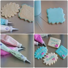 """gold chevron stenciled floral thank you cookies ... and thoughts on overcoming """"cookie decorating perfection angst"""" ;)"""