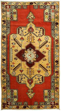 Product No: U-1945 Title: Vintage Oushak Rug Size: 4ft 04in X 8ft 02in Circa: 1940