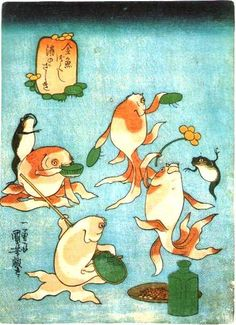 Goldfish fantasy illustration by Utagawa kuniyoshi (歌川国芳)