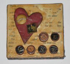 Altered Art Mini Collage Canvas - Be Mine