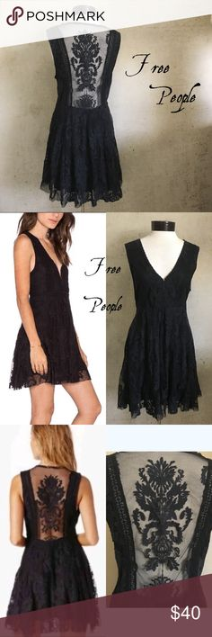 """Free People Black Lace Skater Dress Beautiful flirty all lace dress with deep v-neckline that is adjustable with hooks. Dress has zipper on the side and unfinished hemline. Chest from armpit to armpit is 18.5"""". Length from shoulder/neck point down is 35"""". Good preloved condition. Free People Dresses"""
