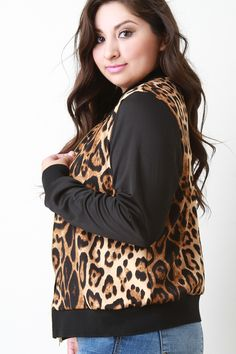 Knit Leopard Print Bomber Jacket