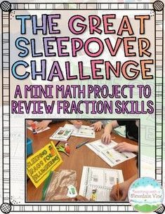 Mini Fraction Math Project! Your students are going to absolutely love reviewing fraction skills with this slumber party themed mini-project! Students will complete four fraction tasks, all related to slumber parties. I printed mine as booklets and made them into centers to get kids up and moving! They were invited to wear pajamas and bring their own stuffed animals to really get the kids motivated to learn!