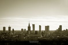 The city of Warsaw, capital of Poland. This image was taken from a hot air balloon that floats about 150 metres above the Wisla river.