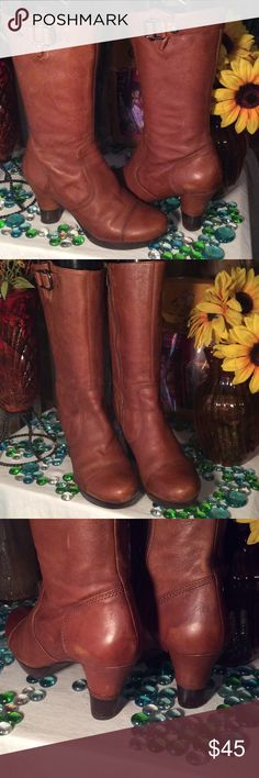 Biviel Leather Boots Sz 7.5M- Fits true to size- Tan color- Accented buckle on each side- Comes to mid calf- Genuine leather- Good condition- 11' Inner zipper- 3.5' heel- Very nice boots! Biviel  Shoes Heeled Boots