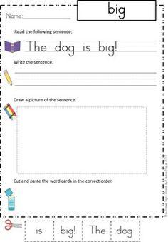 Sight Words - Cut and Paste Worksheets (Pre-Primer Sentences)