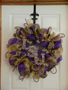 LSU deco mesh wreath. But with OU of course!! Or NWOSU!!