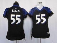 Women Baltimore Ravens 55 Terrell Suggs Black Jerseys