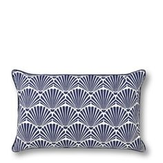 Blue white shell pillow