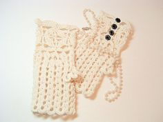 Ecru Lacy Crochet Gloves Fingerless and Romantic by SewcialGraces, $25.00