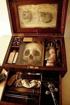 Vampire hunters kit. Probably a fake but possible a fake antique (would still be worth a good deal of money as those were quite the rage back in the late 17-1800s).