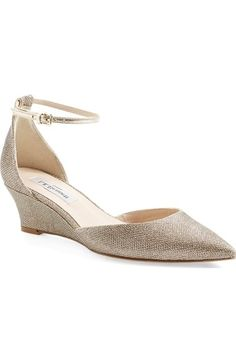 Free shipping and returns on L.K. Bennett 'Alex' Pointy Toe Wedge Pump (Women) at Nordstrom.com. An elegant, clean-lined alternative to the standard wedge, this glittering mesh style is done with a crisp pointy toe and wrapped heel, making it perfect to pair with casualwear as well as dressier ensembles. A thin ankle strap completes the look with anultrafeminine touch.