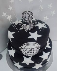 #anniversary #3 #stars #blackandwhite #cake #dlish Anniversary, Stars, Cake, Fashion, Moda, Fashion Styles, Kuchen, Sterne, Fashion Illustrations
