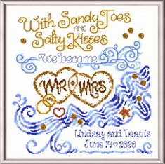 Salty Kisses Wedding - cross stitch pattern designed by Ursula Michael Category: Wedding • In the UK, no VAT tax added! Pattern Design, Free Pattern, Wedding Cross Stitch Patterns, Wedding Kiss, Ursula, Embroidery Stitches, Kisses, Printable, Chart