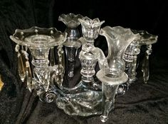 LOVELY Cambridge Caprice Crystal Candelabra w/ Bobeches, Prisms, Arm & 2 Vases