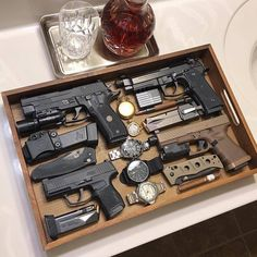 📸 ・・・ Coming at Firearm Friday strong with my EDC tray for the night. Been carrying these four a lot lately and can't complain about any of them. Edc Tactical, Tactical Equipment, Weapons Guns, Guns And Ammo, Gun Storage, Military Guns, Cool Guns, Firearms, Shotguns