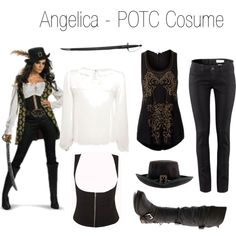 Angelica - Pirates of the Caribbean Costume by shroukin on Polyvore featuring Miso, H&M, Switchblade Stiletto and Charlotte Russe