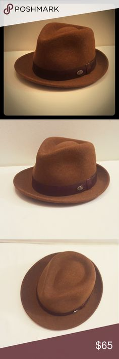 Bailey of Hollywood Men's Yates Fedora Hat Bailey of Hollywood Men's Yates Hat. 100% wool, laser etched logo, smooth raw edge leather band, tear drop crown.   Style: Fedora  Size: Medium Color: Russet  MAKE AN OFFER 😊  Pet free, smoke free home. Bailey Of Hollywood Accessories Hats