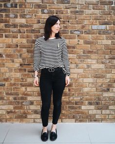 Monochrome & Stripes. H&M breton top with black Topshop skinny jeans | Hannah and The Blog