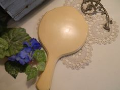 Vintage Celluloid Vanity Hand Mirror by allthatsvintage56 on Etsy