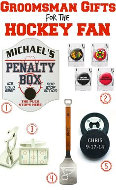 In honor of the #StanleyCupPlayoffs: groomsmen gifts for the hockey fans of your wedding party