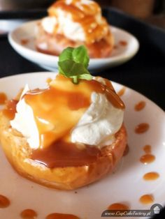 Baked apples with lemon mascarpone cream and caramel sauce