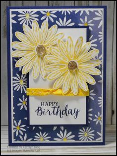 handmade birthday card ... navy, yellow white ... die cut layered daisies ... pretty patterned paper to match ... Stampin' Up!