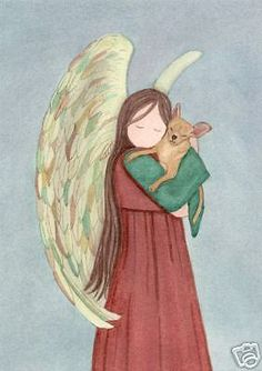 Brown / tan / fawn chihuahua with angel / Lynch signed folk art print #folkart