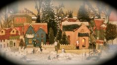 Christmas Putz Houses...playing with different effects and this gives an original feel to the scene.  Love the little vintage Christmas village......