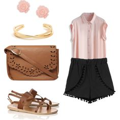 A fashion look from June 2015 featuring pink blouse, shoulder handbags and gold jewellery. Browse and shop related looks. Ancient Greek Sandals, Gold Bangles, Shoulder Handbags, Spring Summer Fashion, Collars, Fashion Looks, Polyvore, Pink, Outfit Ideas